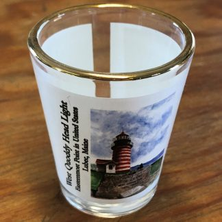 West Quoddy Shot Glass with Picture of Granite Marker